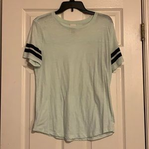 PINK mint green tee with striped sleeves